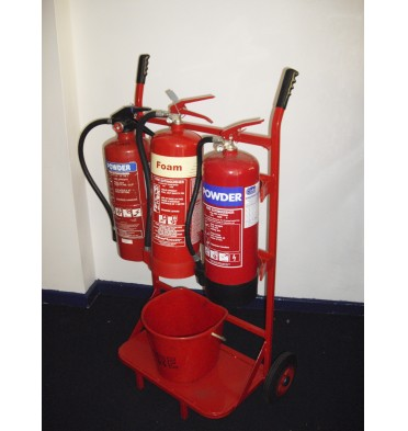 TRIPLE FIRE TROLLEY 3 X EXTINGUISHERS