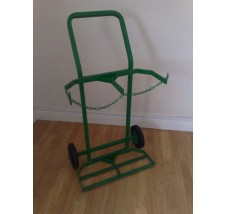 TWIN INTEGRAL GAS BOTTLE TROLLEY - 2X OXYGEN OR ACETYLENE (GREEN)