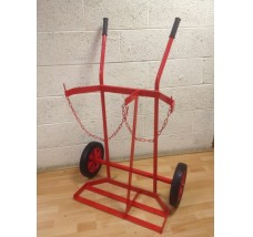 TWIN HEAVY DUTY GAS BOTTLE TROLLEY - 2X OXYGEN OR PROPANE